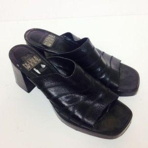 NINE WEST Sz 9.5 M Leather Black Sandals